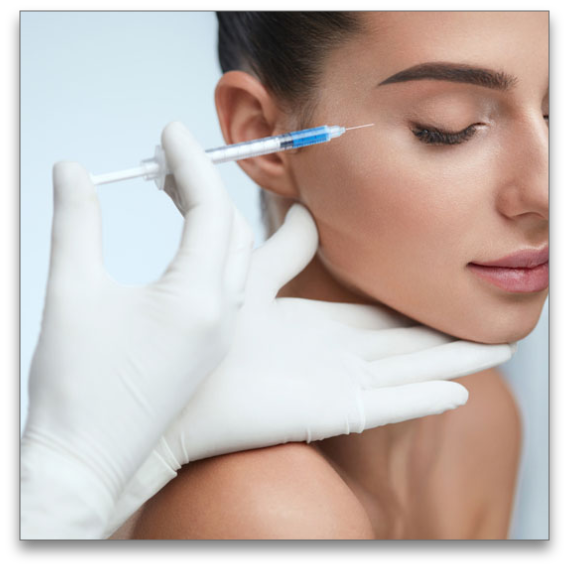 Woman getting injectable treatment